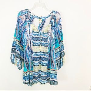 Anthropologie Fig & Flower Boho Peasant Blouse 3X
